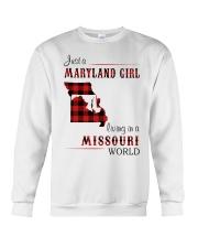 MARYLAND GIRL LIVING IN MISSOURI WORLD Crewneck Sweatshirt thumbnail