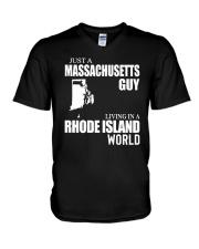 JUST A MASSACHUSETTS GUY LIVING IN RI WORLD V-Neck T-Shirt thumbnail