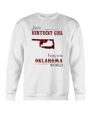 KENTUCKY GIRL LIVING IN OKLAHOMA WORLD Crewneck Sweatshirt thumbnail