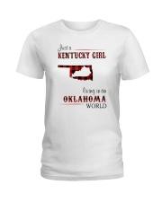 KENTUCKY GIRL LIVING IN OKLAHOMA WORLD Ladies T-Shirt thumbnail