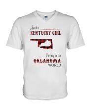 KENTUCKY GIRL LIVING IN OKLAHOMA WORLD V-Neck T-Shirt thumbnail