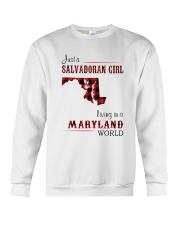 SALVADORAN GIRL LIVING IN MARYLAND WORLD Crewneck Sweatshirt thumbnail