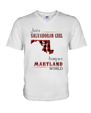 SALVADORAN GIRL LIVING IN MARYLAND WORLD V-Neck T-Shirt thumbnail