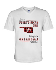 PUERTO RICAN GIRL LIVING IN OKLAHOMA WORLD V-Neck T-Shirt tile