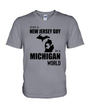 JUST A NEW JERSEY GUY IN A MICHIGAN WORLD V-Neck T-Shirt thumbnail