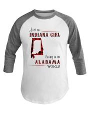 INDIANA GIRL LIVING IN ALABAMA WORLD Baseball Tee thumbnail
