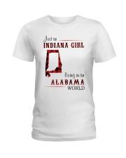 INDIANA GIRL LIVING IN ALABAMA WORLD Ladies T-Shirt thumbnail