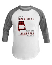 IOWA GIRL LIVING IN ALABAMA WORLD Baseball Tee thumbnail