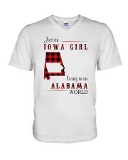 IOWA GIRL LIVING IN ALABAMA WORLD V-Neck T-Shirt thumbnail