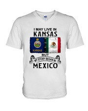 LIVE IN KANSAS BEGAN IN MEXICO V-Neck T-Shirt thumbnail