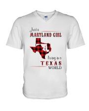 MARYLAND GIRL LIVING IN TEXAS WORLD V-Neck T-Shirt thumbnail