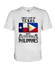 LIVE IN TEXAS BEGAN IN PHILIPPINES V-Neck T-Shirt thumbnail