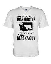 ALASKA GUY LIFE TOOK TO WASHINGTON V-Neck T-Shirt thumbnail