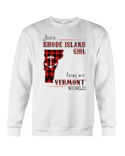 RHODE ISLAND GIRL LIVING IN VERMONT WORLD Crewneck Sweatshirt tile