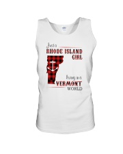 RHODE ISLAND GIRL LIVING IN VERMONT WORLD Unisex Tank tile