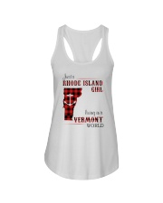 RHODE ISLAND GIRL LIVING IN VERMONT WORLD Ladies Flowy Tank tile