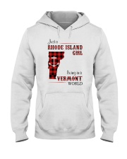 RHODE ISLAND GIRL LIVING IN VERMONT WORLD Hooded Sweatshirt tile