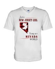JERSEY GIRL LIVING IN NEVADA WORLD V-Neck T-Shirt thumbnail
