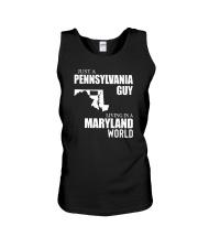 JUST A PENNSYLVANIA GUY LIVING IN MARYLAND WORLD Unisex Tank thumbnail