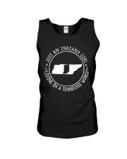 INDIANA GIRL LIVING IN TENNESSEE WORLD Unisex Tank thumbnail