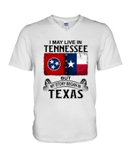 LIVE IN TENNESSEE BEGAN IN TEXAS V-Neck T-Shirt thumbnail