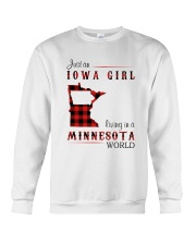 IOWA GIRL LIVING IN MINNESOTA WORLD Crewneck Sweatshirt thumbnail