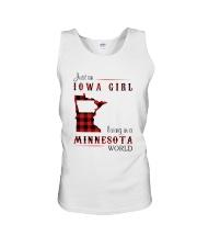 IOWA GIRL LIVING IN MINNESOTA WORLD Unisex Tank thumbnail