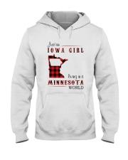 IOWA GIRL LIVING IN MINNESOTA WORLD Hooded Sweatshirt thumbnail