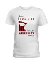 IOWA GIRL LIVING IN MINNESOTA WORLD Ladies T-Shirt thumbnail