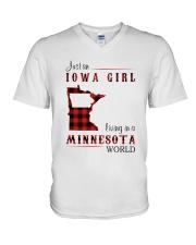 IOWA GIRL LIVING IN MINNESOTA WORLD V-Neck T-Shirt thumbnail