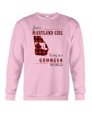 MARYLAND GIRL LIVING IN GEORGIA WORLD Crewneck Sweatshirt thumbnail