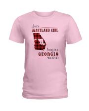 MARYLAND GIRL LIVING IN GEORGIA WORLD Ladies T-Shirt thumbnail