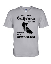LIVE IN CALIFORNIA BUT ALWAYS NEW YORK GIRL V-Neck T-Shirt thumbnail