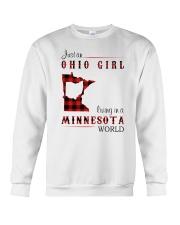 OHIO GIRL LIVING IN MINNESOTA WORLD Crewneck Sweatshirt thumbnail
