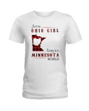 OHIO GIRL LIVING IN MINNESOTA WORLD Ladies T-Shirt thumbnail
