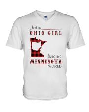 OHIO GIRL LIVING IN MINNESOTA WORLD V-Neck T-Shirt thumbnail