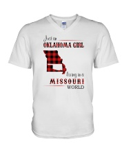 OKLAHOMA GIRL LIVING IN MISSOURI WORLD V-Neck T-Shirt tile
