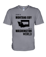 JUST A MONTANA GUY IN A WASHINGTON WORLD V-Neck T-Shirt thumbnail