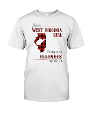 WEST VIRGINIA GIRL LIVING IN ILLINOIS WORLD Classic T-Shirt front