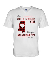 SOUTH CAROLINA GIRL LIVING IN MISSISSIPPI WORLD V-Neck T-Shirt thumbnail