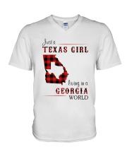 TEXAS GIRL LIVING IN GEORGIA WORLD V-Neck T-Shirt thumbnail