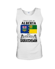 LIVE IN ALBERTA BEGAN IN SASKATCHEWAN ROOT WOMEN Unisex Tank thumbnail