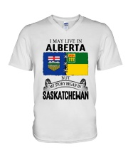 LIVE IN ALBERTA BEGAN IN SASKATCHEWAN ROOT WOMEN V-Neck T-Shirt thumbnail