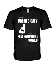 JUST A MAINE GUY LIVING IN NEW HAMPSHIREWORLD V-Neck T-Shirt thumbnail