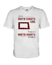 SOUTH DAKOTA GIRL LIVING IN NORTH DAKOTA WORLD V-Neck T-Shirt thumbnail