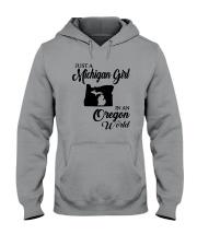 JUST A MICHIGAN GIRL IN AN OREGON WORLD Hooded Sweatshirt thumbnail