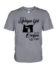 JUST A MICHIGAN GIRL IN AN OREGON WORLD V-Neck T-Shirt thumbnail