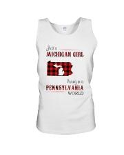 MICHIGAN GIRL LIVING IN PENNSYLVANIA WORLD Unisex Tank thumbnail