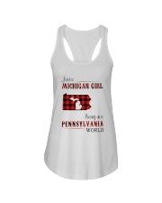 MICHIGAN GIRL LIVING IN PENNSYLVANIA WORLD Ladies Flowy Tank thumbnail