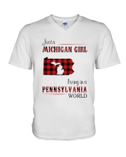 MICHIGAN GIRL LIVING IN PENNSYLVANIA WORLD V-Neck T-Shirt thumbnail